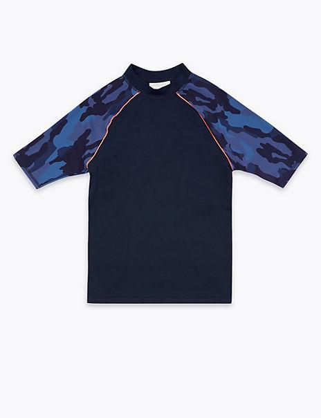 Camo Print Long Sleeve Rash Vest (6-16 Years)