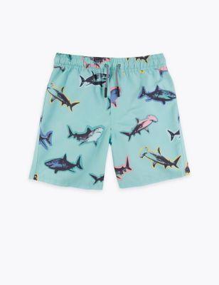 Shark Print Swim Shorts (6-16 Yrs)