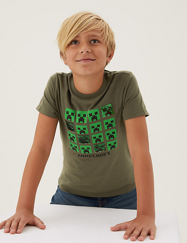 T-shirt van puur katoen met Minecraft™-motief en lovertjes (6-16 jaar)
