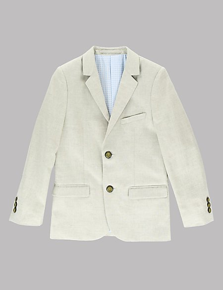 Notch Lapel 2 Button Jacket with Linen (5-14 Years)