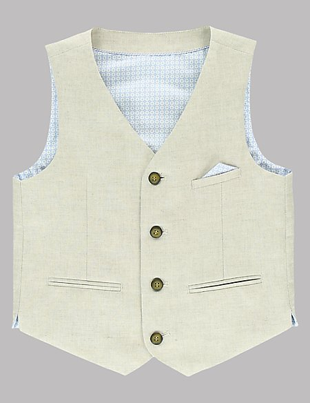 4 Button Waistcoat with Linen (5-14 Years)