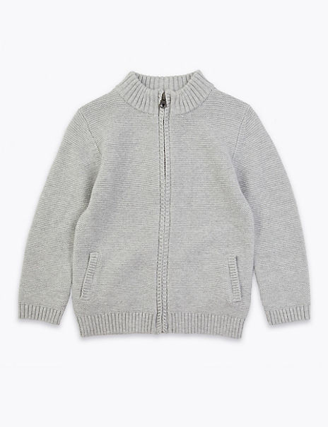Cotton Zip Through Knitted Cardigan (2-7 Years)