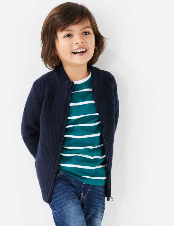 clp60376637: Cotton Zip Through Knitted Cardigan (2-7 Yrs)