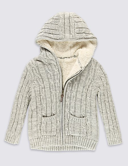 Pure Cotton Borg Lined Cardigan (1-7 Years)