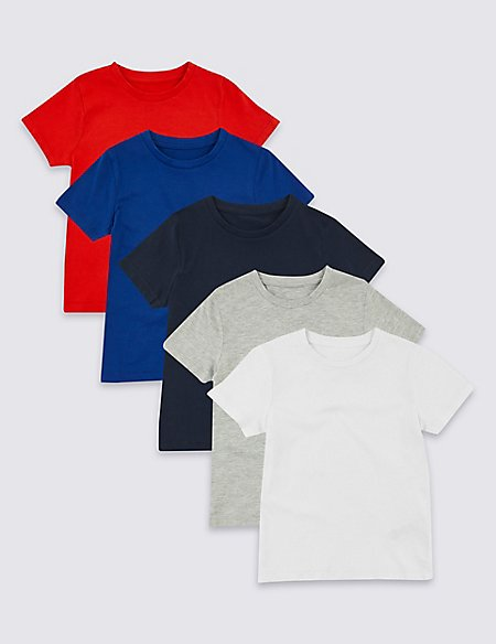 5 Pack Cotton Rich T-Shirts (3 Months - 7 Years)