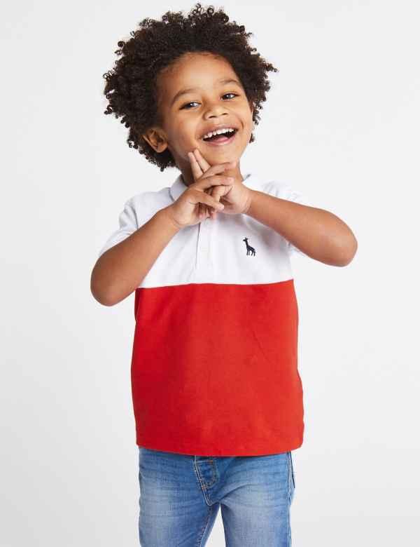159f4775b1e0 Pure Cotton Colour Block Polo Shirt (3 Months - 7 Years)