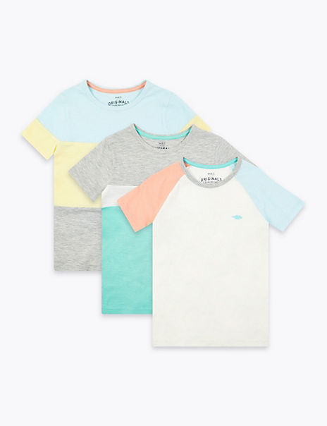 3 Pack Cotton Rich Colour Block T-Shirts (2-7 Yrs)