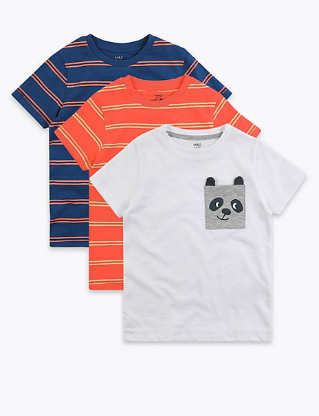 3 Pack Cotton Striped T-Shirts (2-7 Years)