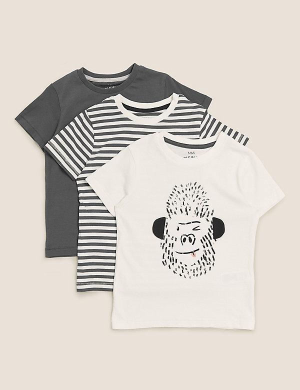 Set van 3 zuiver katoenen T-shirts met gorillamotief (2-7 jaar)