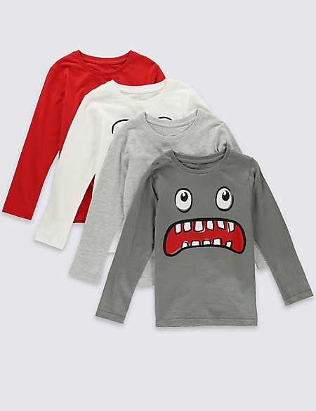 4 Pack Pure Cotton Long Sleeve T-Shirts (1-7 Years)