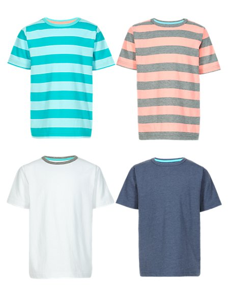 4 Pack Pure Cotton Assorted T-Shirts