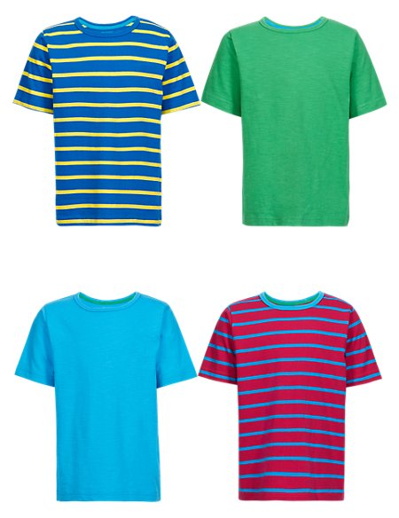 4 Pack Pure Cotton Striped Boys T-Shirts (1-7 Years)