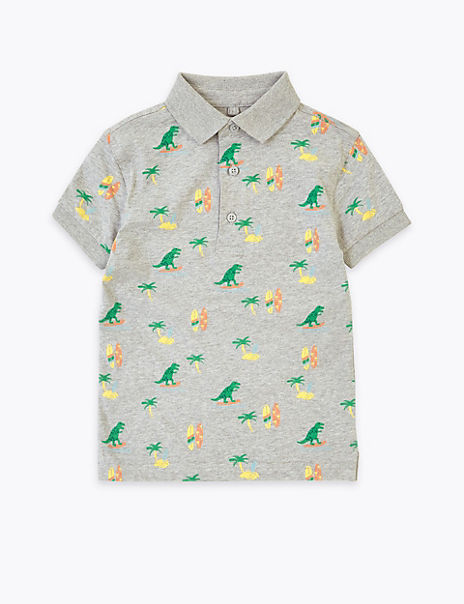 Cotton Dinosaur Print Polo Shirt (2-7 Years)