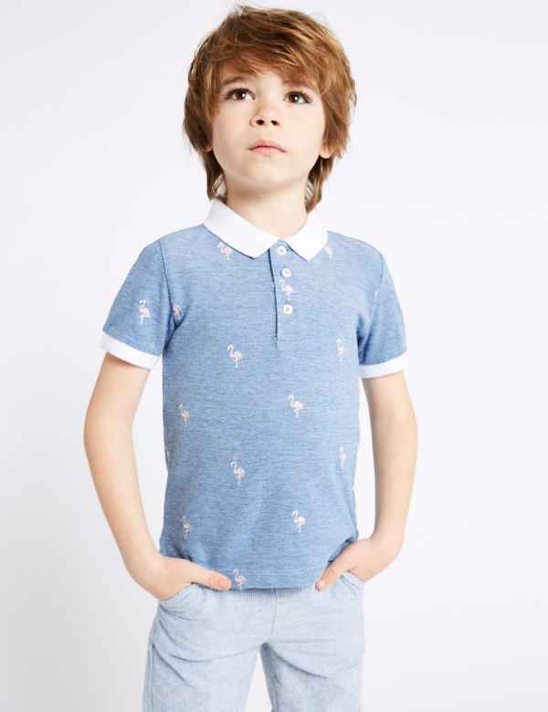 34a208ffb Pure Cotton Embroidered Polo Shirt (3 Months - 7 Years)