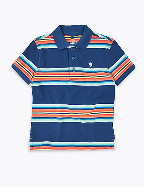 Pure Cotton Striped Polo Shirt (2-7 Years)
