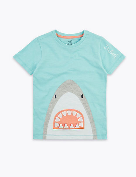 Cotton Shark Applique T-Shirt (2-7 Years)