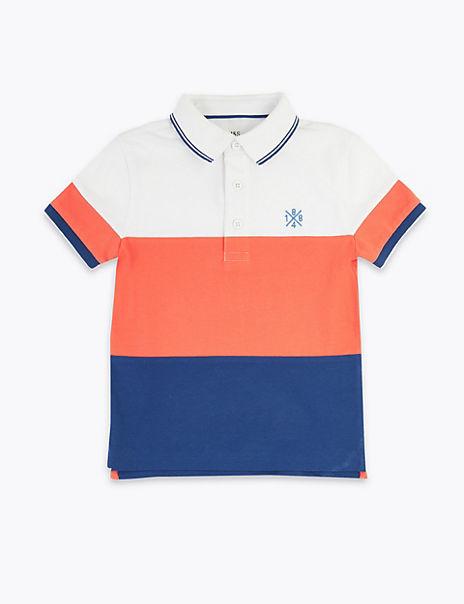 Cotton Colour Block Polo Shirt (2-7 Years)
