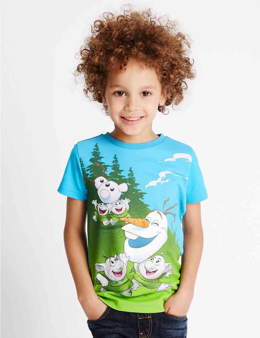 69d0562fd29 Pure Cotton Disney Frozen Olaf   Trolls T-Shirt (1-8 Years)