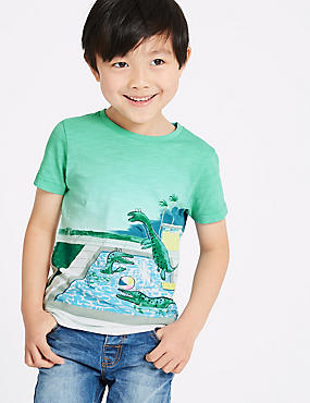 Pure Cotton Dinosaurs Print T-Shirt (3 Months - 7 Years)
