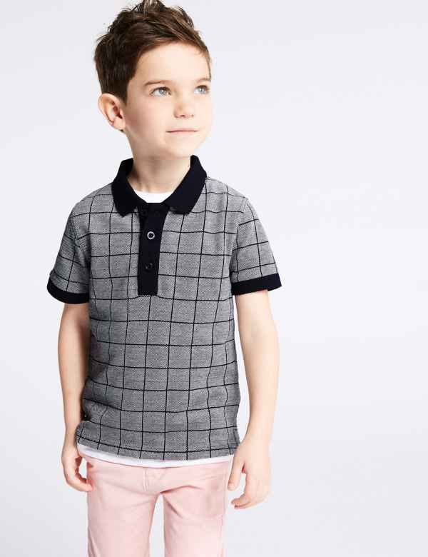 459656631d41 Pure Cotton Jacquard Polo Shirt (3 Months - 7 Years)