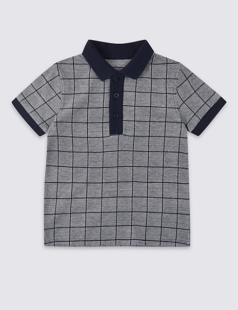 Pure Cotton Jacquard Polo Shirt (3 Months - 7 Years)