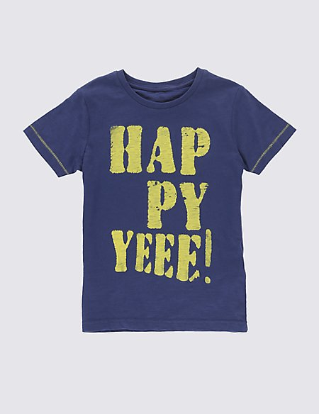 Pure Cotton Happy Yeee Slogan T-Shirt (1-7 Years)