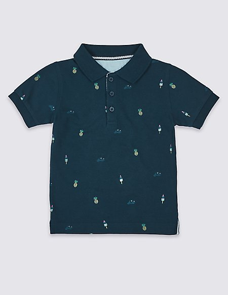Pure Cotton Printed Polo Shirt (3 Months - 7 Years)