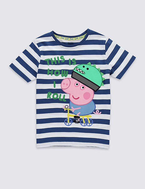 7972c3843 Product images. Skip Carousel. Pure Cotton Peppa Pig™ George Striped T -Shirt ...