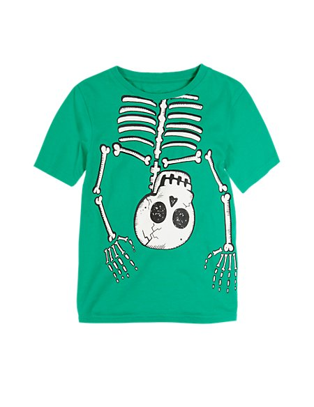 Pure Cotton Upside Down Glow In The Dark Skull Print T Shirt 1 7