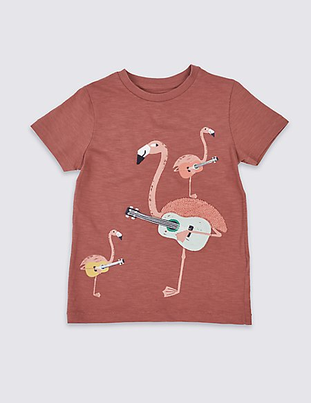 Pure Cotton Flamingo Top (3 Months - 7 Years)
