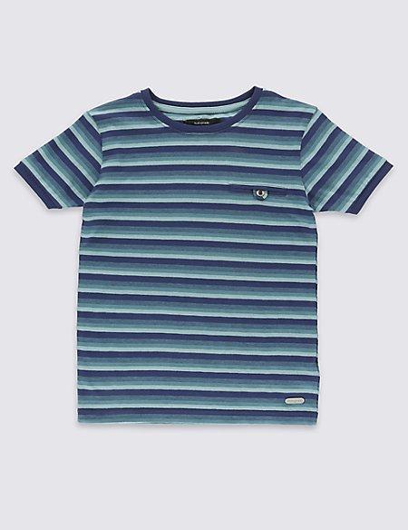 Pure Cotton Textured Stripe T-Shirt (1-7 Years)