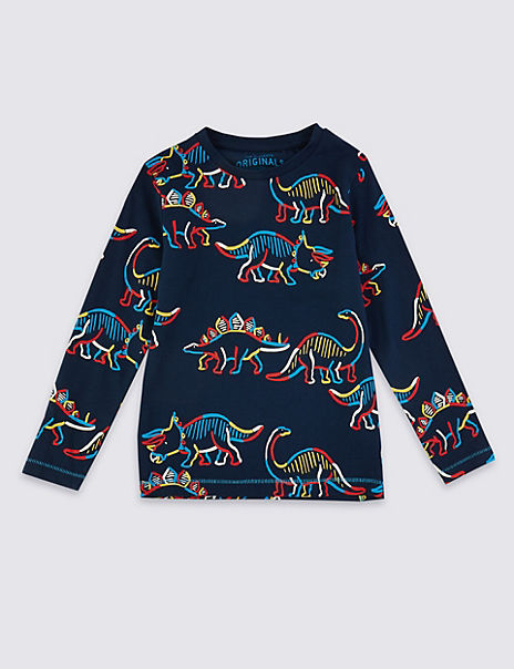 Pure Cotton Dinosaur Print T-Shirt (3 Months - 7 Years)