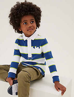 Pure Cotton Striped Rugby Top (2-7 Yrs)