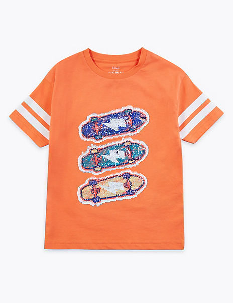 Cotton Reversible Sequin Skateboard T-Shirt (2-7 Years)