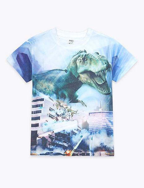 Dinosaur Sublimation Print T-Shirt (2-7 Years)