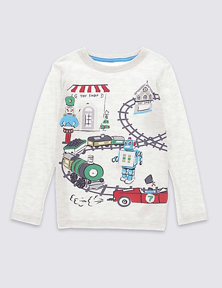 Cotton Rich Long Sleeve Flap T-Shirt (1-7 Years)