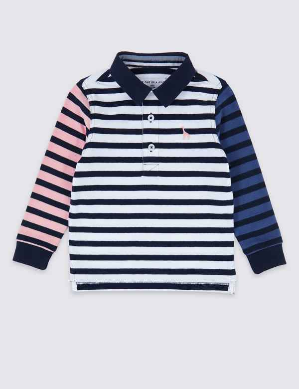 92c8c3c49 Pure Cotton Striped Rugby Top (3 Months - 7 Years)