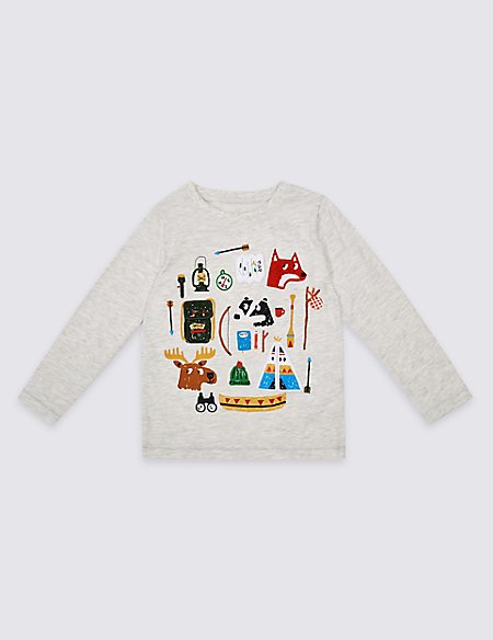Cotton Rich Long Sleeve Top (3 Months- 5 Years)