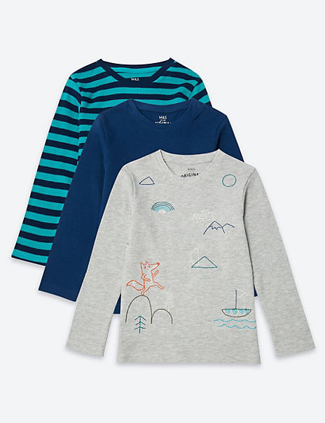 3 Pack Textured Print Tops (3 Months - 7 Years)