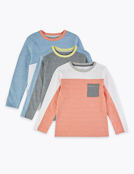 3 Pack Cotton Rich Colour Block Tops (2-7 Years)