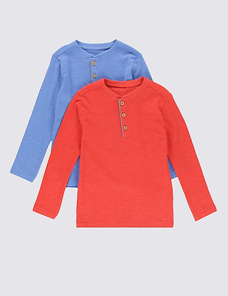 2 Pack Cotton Rich Waffle T-Shirts (1-7 Years)