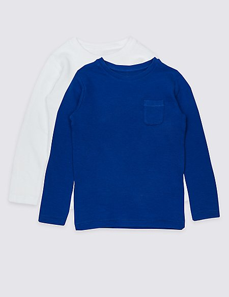 2 Pack Pure Cotton Textured Tops (3 Months - 7 Years)
