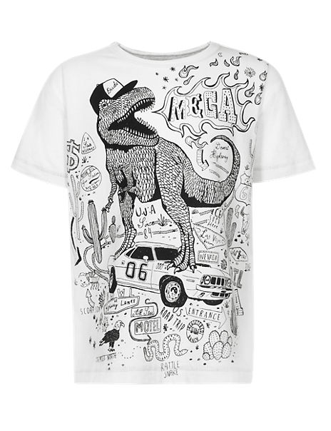 Pure Cotton Dinosaur Print T-Shirt with Pens (1-7 Years)