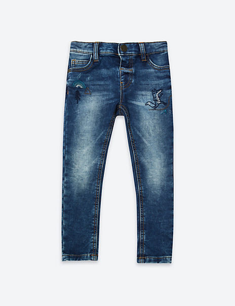 Regular Fit Embroidered Denim Jeans (3 Months - 7 Years)