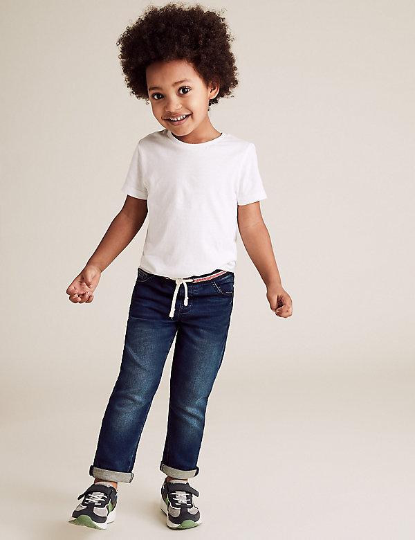 Jean coupe standard en coton avec taille confortable à motif arc-en-ciel (du 2 au 7ans)