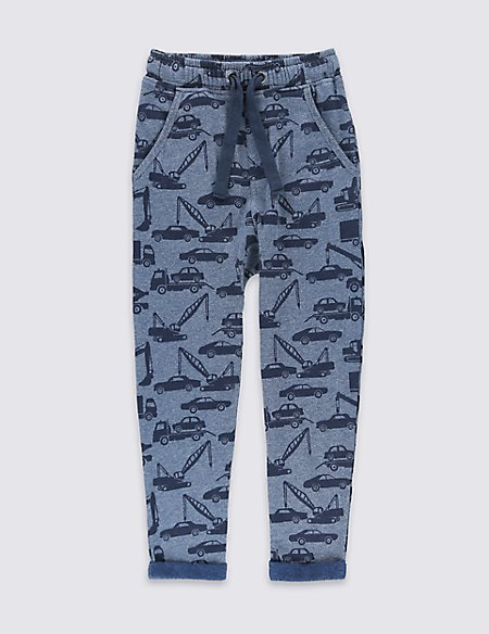 Cotton Blend Car Print Joggers (1-7 Years)