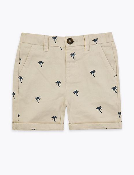 Regular Cotton Palm Tree Chino Shorts (2-7 Years)
