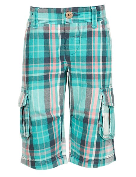 Pure Cotton Large Checked Shorts (1-7 Years)