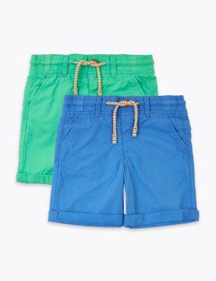 2 Pack Regular Pure Cotton Shorts (2-7 Yrs)