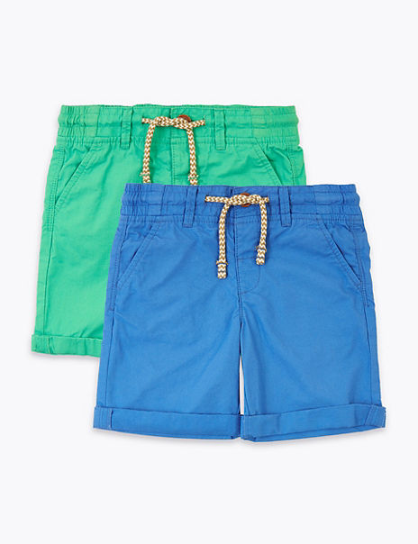 2 Pack Regular Pure Cotton Shorts (2-7 Years)